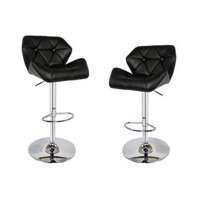 Adjustable Height Swivel Bar Stool with Cushion Upholstery Color: Black