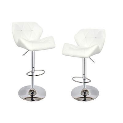 Adjustable Height Swivel Bar Stool with Cushion Upholstery Color: White