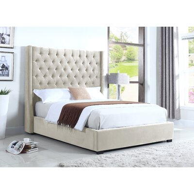 High Profile Upholstered Platform Bed Size: Queen, Color: Natural