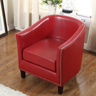 Barrel Chair Upholstery: Red