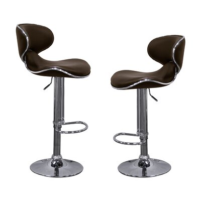 Helix Modern Adjustable Swivel Bar Stool Upholstery: Brown