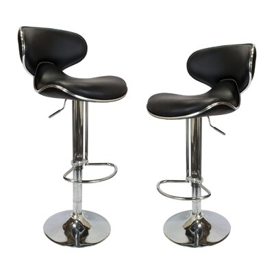 Helix Modern Adjustable Swivel Bar Stool Upholstery: Black