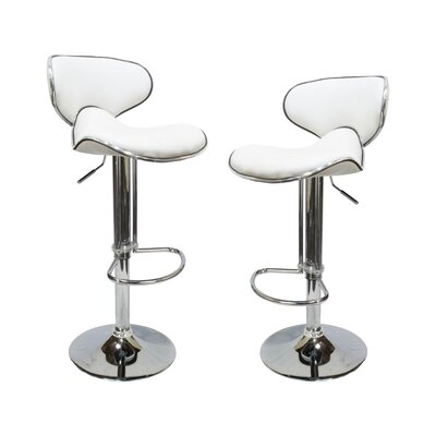Helix Modern Adjustable Swivel Bar Stool Upholstery: White