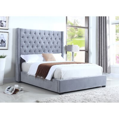BestMasterFurniture High Profile Upholstered Platform Bed 385 Light Grey Queen Size