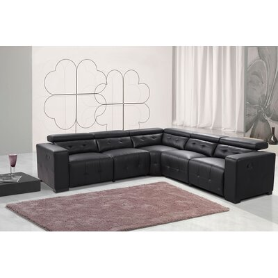 Reclining Leather Sectional Upholstery: Black