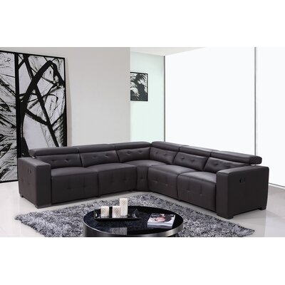Reclining Leather Sectional Upholstery: Brown