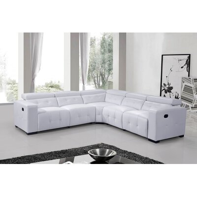 Reclining Leather Sectional Upholstery: White
