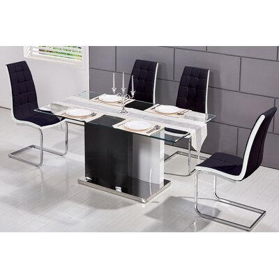 Modern 5 Piece Dining Set Upholstery Color: Black