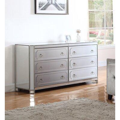 6 Drawer Mirrored Dresser