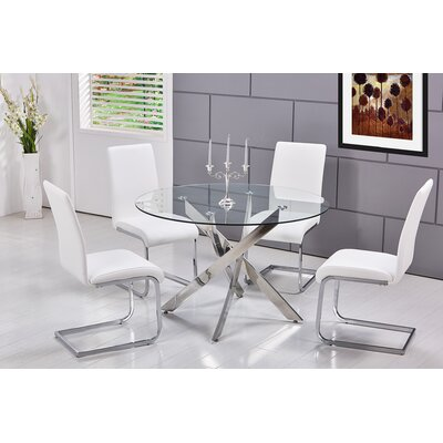 Fields 5 Pieces Dining Set Upholstery Color: White