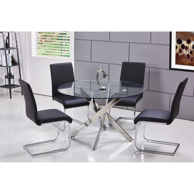 Fields 5 Pieces Dining Set Upholstery Color: Black