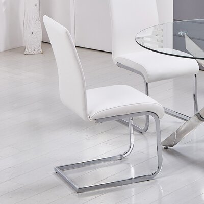 Leather Dining Side Chairs Upholstery: White