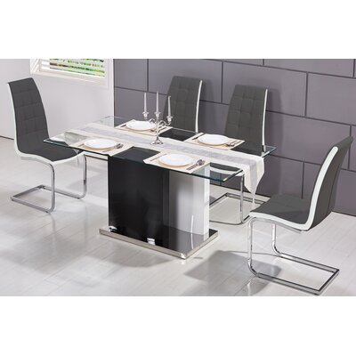 Modern 5 Piece Dining Set Upholstery Color: Gray