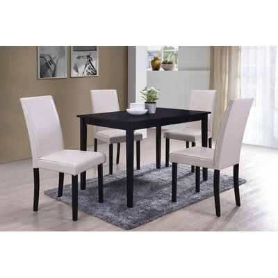 5 Piece Dining Set Upholstery Color: Cream