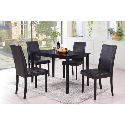5 Piece Dining Set Upholstery Color: Brown
