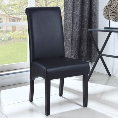 Leather Dining Side Chair Finish: Black