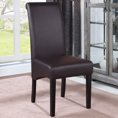 Leather Dining Side Chair Finish: Brown