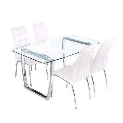 5 Piece Dining Set Upholstery Color: White