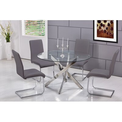 Fields 5 Pieces Dining Set Upholstery Color: Gray