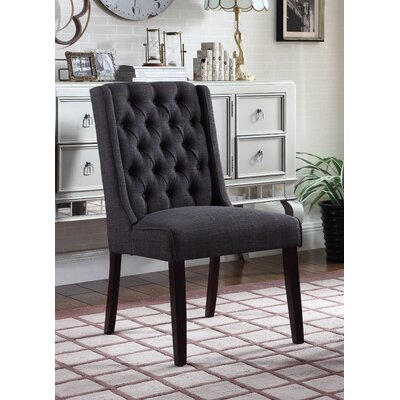 Henriette Contemporary Upholstered Dining Chair Upholstery Color: Black Charcoal
