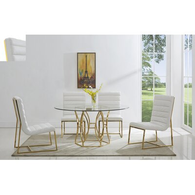 Kierstyn Dining Table Color: Gold, Size: 54L x 54D x 30H