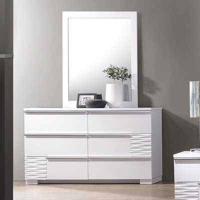 Gaines 6 Drawer Double Dresser with Mirror