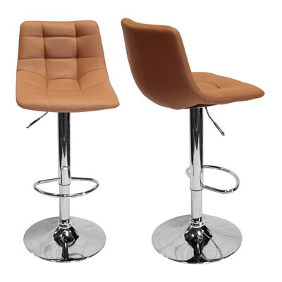 Haeli Adjustable Height Swivel Bar Stool Color: Cappuccino