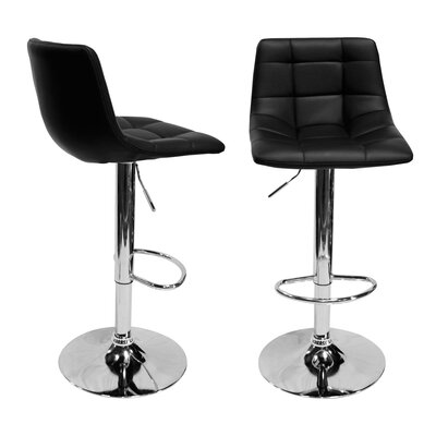 Haeli Adjustable Height Swivel Bar Stool Color: Black