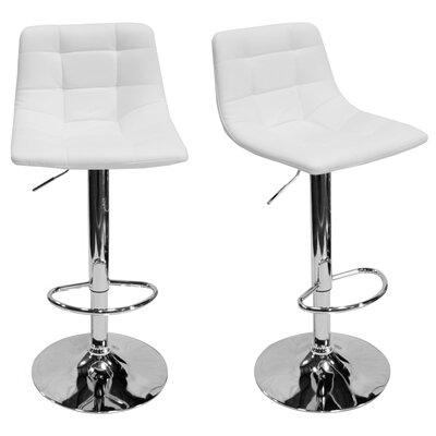 Haeli Adjustable Height Swivel Bar Stool Color: White