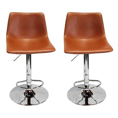 Bivins Adjustable Height Swivel Bar Stool Upholstery: Tan