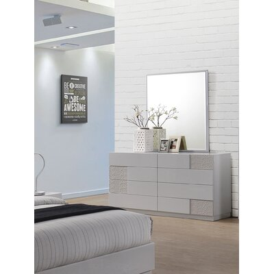 Lyset 8 Drawer Dresser with Mirror