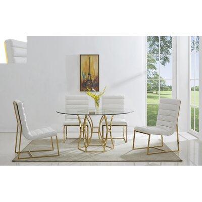 Savon 5 Piece Dining Set Color: Gold/White, Size: 54 L x 54 W x 30 H