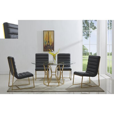 Savon 5 Piece Dining Set Color: Gold/Gray, Size: 54 L x 54 W x 30 H