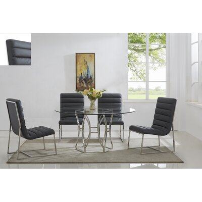 Savon 5 Piece Dining Set Color: Silver/Gray, Size: 54 L x 54 W x 30 H