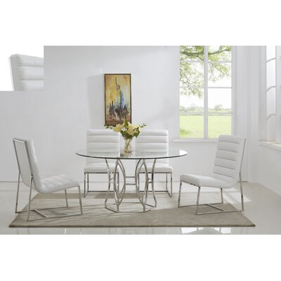 Savon 5 Piece Dining Set Color: Silver/White, Size: 60 L x 60 W x 30 H