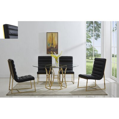 J.J. Upholstered Dining Chair Color: Gold/Black
