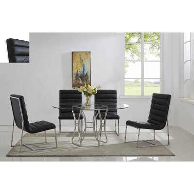Savon 5 Piece Dining Set Color: Silver/Black, Size: 60 L x 60 W x 30 H