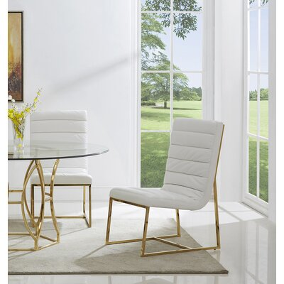 J.J. Upholstered Dining Chair Color: Gold/White