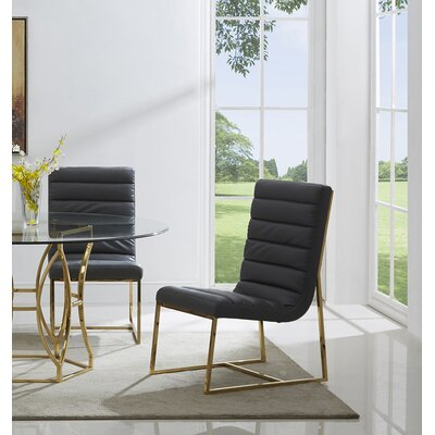 Uday 5 Piece Dining Set Table Top Size: 54, Color: Gold/ Black