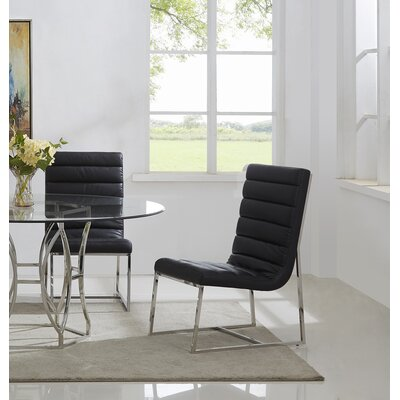 J.J. Upholstered Dining Chair Color: Silver/Black