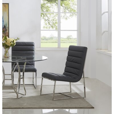 J.J. Upholstered Dining Chair Color: Silver/Gray