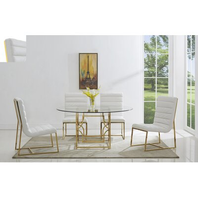 Uday 5 Piece Dining Set Table Top Size: 60, Color: Gold/ White