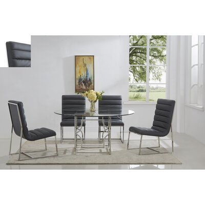 Uday 5 Piece Dining Set Table Top Size: 60, Color: Silver/ Black