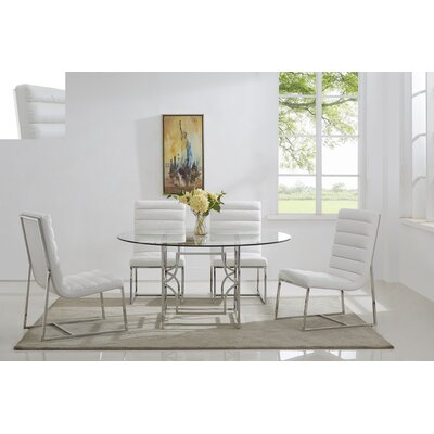 Uday 5 Piece Dining Set Table Top Size: 60, Color: Silver/ White