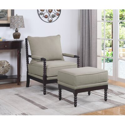 JeNae Armchair and Ottoman Upholstery: Beige/Espresso