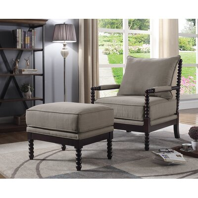 JeNae Armchair and Ottoman Upholstery: Taupe/Espresso