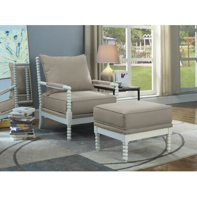 JeNae Armchair and Ottoman Upholstery: Beige/White