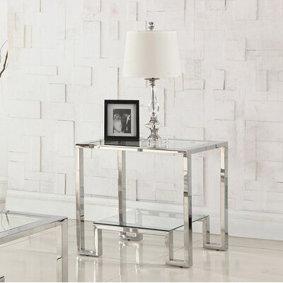 Mcauley Glass Top End Table
