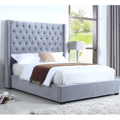 High Profile Upholstered Platform Bed Size: Eastern King, Color: Light Gray