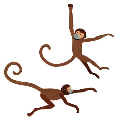 2 Piece Monkey Wall Decal Set